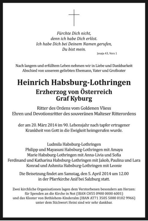 Traueranzeige Herr  Erzherzog von Österreich, Graf Kyburg Heinrich Habsburg-Lothringen